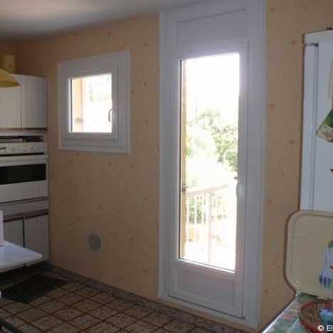 Porte-fenêtre en bois à 1 vantail
