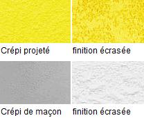 Différentes finitions de crépi