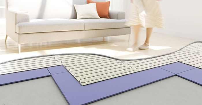 Plancher chauffant dans un salon